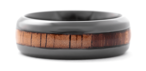 Handmade mens wood and zirconium ring